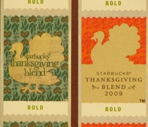 2008 and 2009 Thanksgiving Blend Coffee Stamps