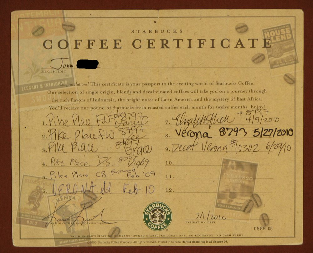 Whats The Story Behind This Starbucks Coffee Certificate Reader