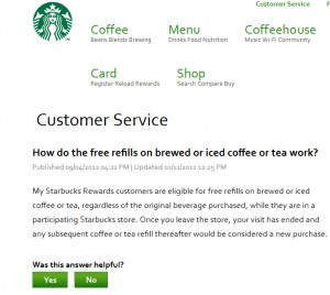 Starbucks Drink Refill Policy