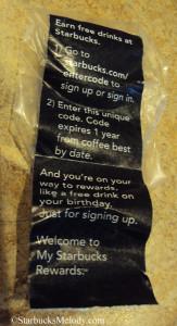 06743 Sticker fully peeled apart My Starbucks rewards grocery coffee