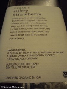 6542 Sultry Strawberry tea - back of tea tin 1 March 2013 tazo tea store