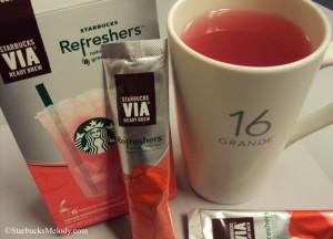 6590 Strawberry lemonade via refresher starbucks - mixed with water