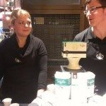 Deb and Josh at Coffee Seminar for Tribute Blend 11Mar13 East Olive Way Starbucks - 2