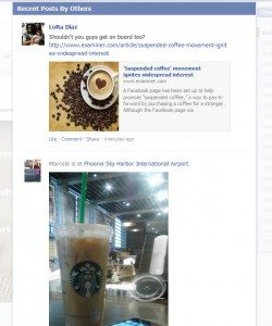 Suspended coffee post on Starbucks FB page 28March2013