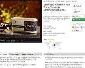 Screen cap from StarbucksStore Tanzania Reserve