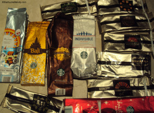 7038 Stash of old Starbucks coffee bags
