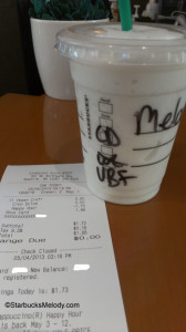 IMAG4999 Melodys Frappuccino Northgate Starbucks