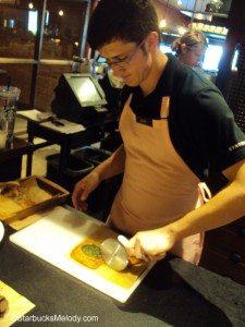 DSC07121 Josh slices wheat spinach croissant Olive Way Starbucks