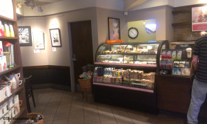 IMAG5867 Ashland Oregon Clover Starbucks facing pastry case with clock 29Jun13