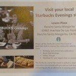 IMAG5718 Visit Starbucks Rancho Santa Margarita flyer 25 June 2013