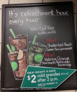 Refreshers chalk board Ontario Starbucks canada