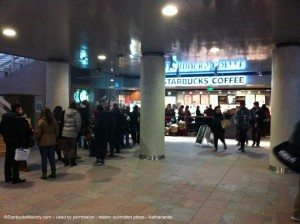 The line at Rottendam Netherlands Starbucks