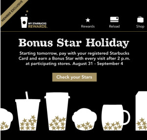 Bonus Stars after 2 pm Labor Day Weekend
