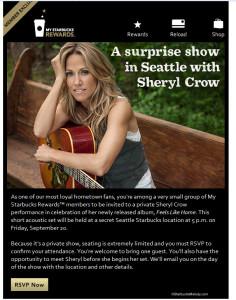 Sheryl Crow invitation - 17 September 2013