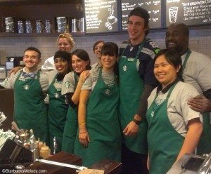 IMAG7665 Starbucks team at 6th and Union with Seahawks player Luke Willson - 23Oct2013