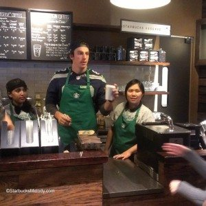 Luke Willson - Seattle Seahawks - Starbucks - 23 Oct 2013 - With Chanel and Sarah