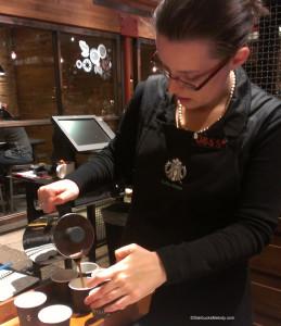 IMAG8455 Jess pours Christmas Blend - Starbucks - 9 Dec 2013