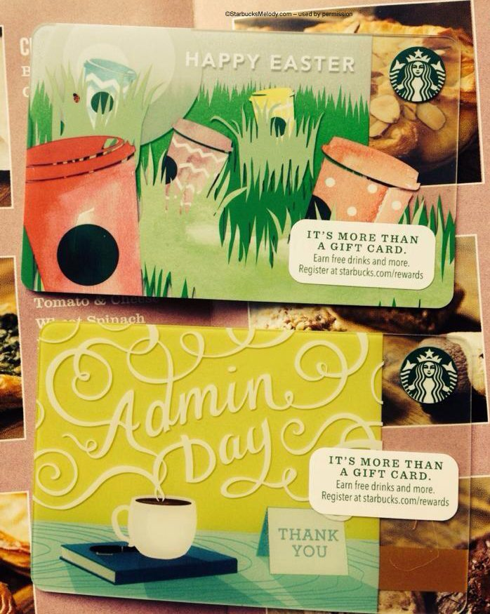 Cute new seasonal starbucks cards coming april 1st easter card and 2admin day and easter starbucks cards march 2014 negle Gallery