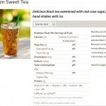 Sweet tea from Starbucks website screen cap on 9 March 2014
