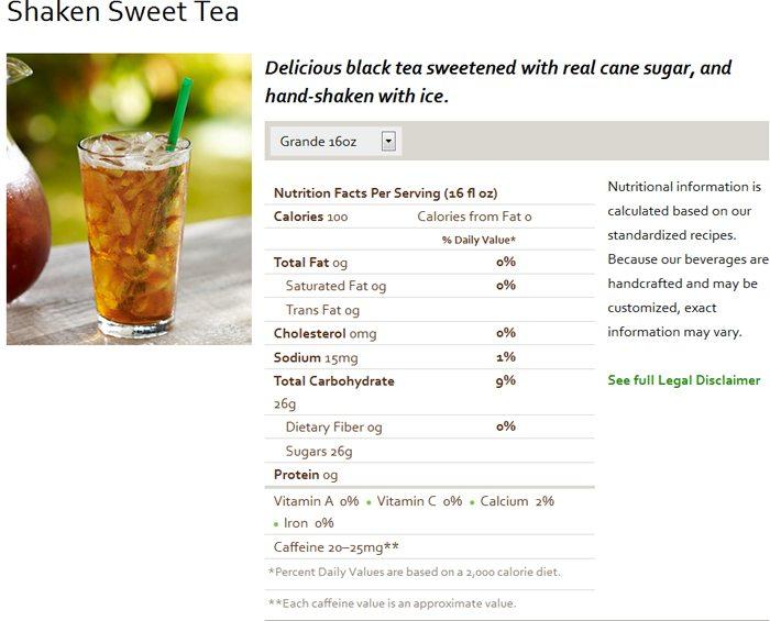 Cane Sugar Sweetened Starbucks Sweet
