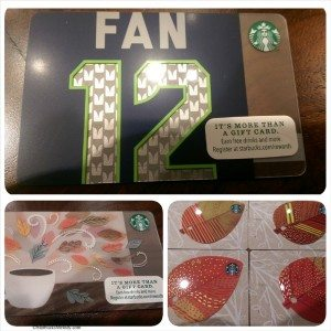 Fall Starbucks cards including the Seahawks Fan Card