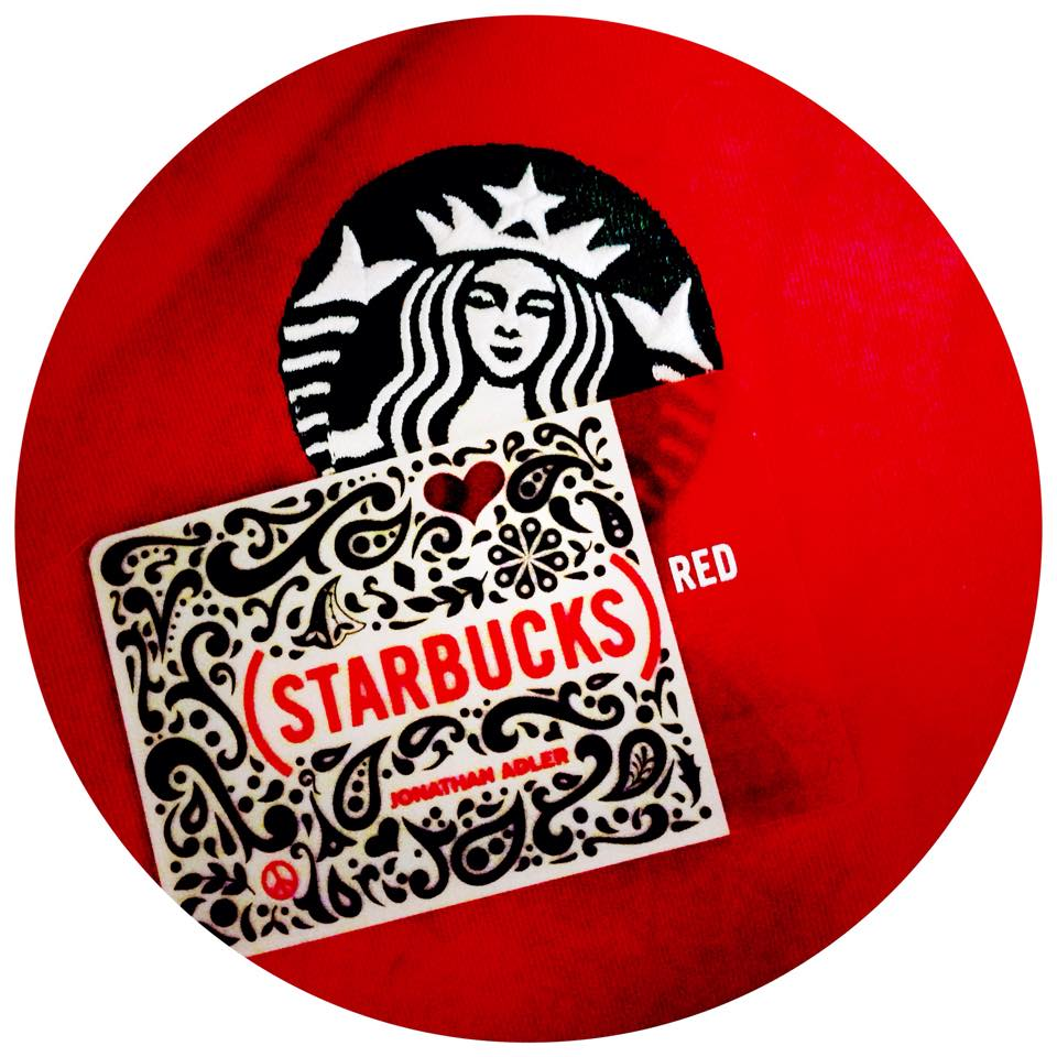 Starbucks Donates to the Global Fund to Fight Aids: Every handcrafted drink on 12-1 turns (RED).