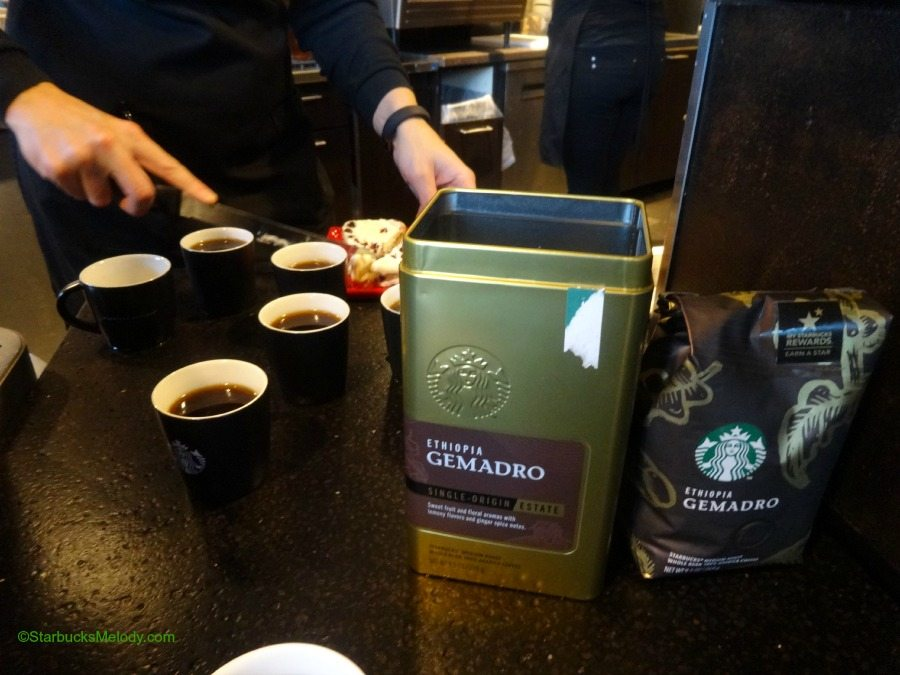 Starbucks Ethiopia Gemadro, Guatemala San Isidro estate coffee, and Costa Rica La Candelilla coffee.