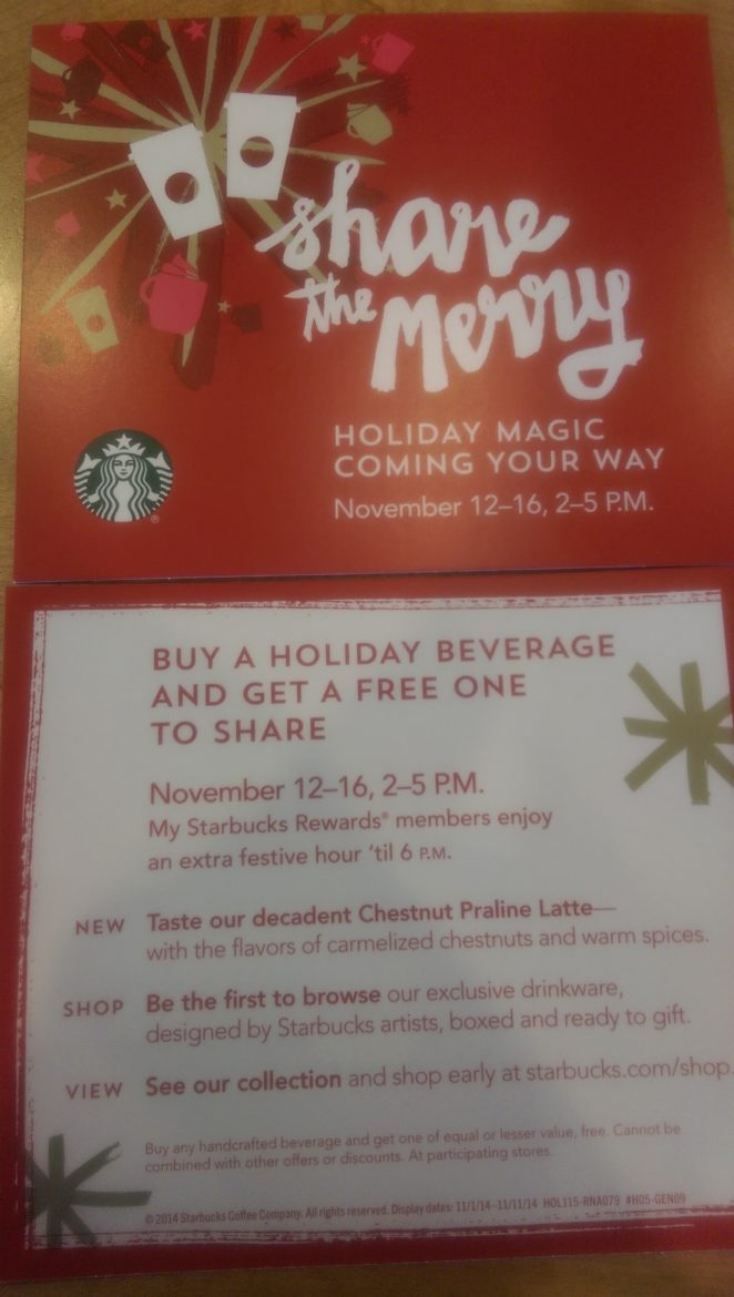 Share the Merry: Buy a Starbucks Holiday Beverage & Get One Free (Nov. 12 – 16, 2-5 PM)