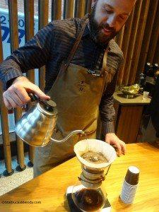 2 - 1 - DSC01030 chad moore making a Chemex of coffee 5 Dec 14