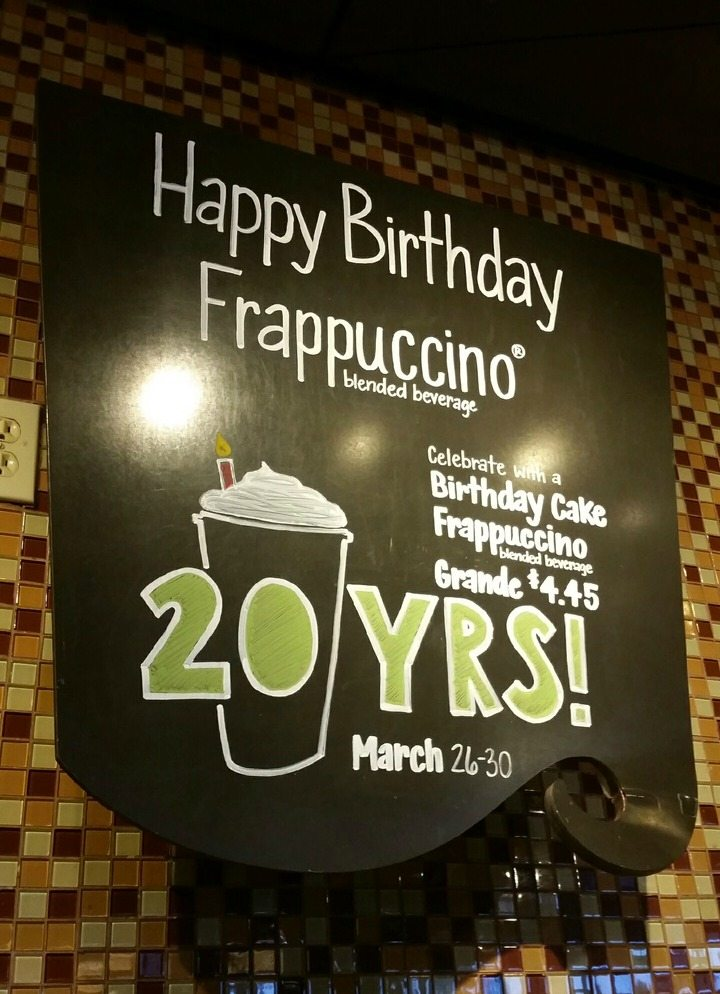Celebrate The Frappuccinos 20th Try Birthday Day Cake