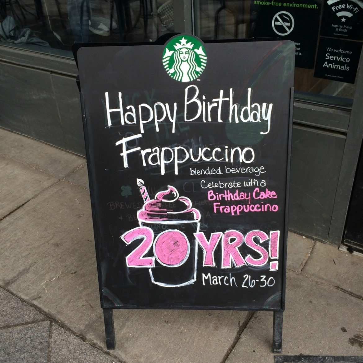 Celebrate The Frappuccinos 20th Try Birthday Day Cake Frappuccino March 26th 30th
