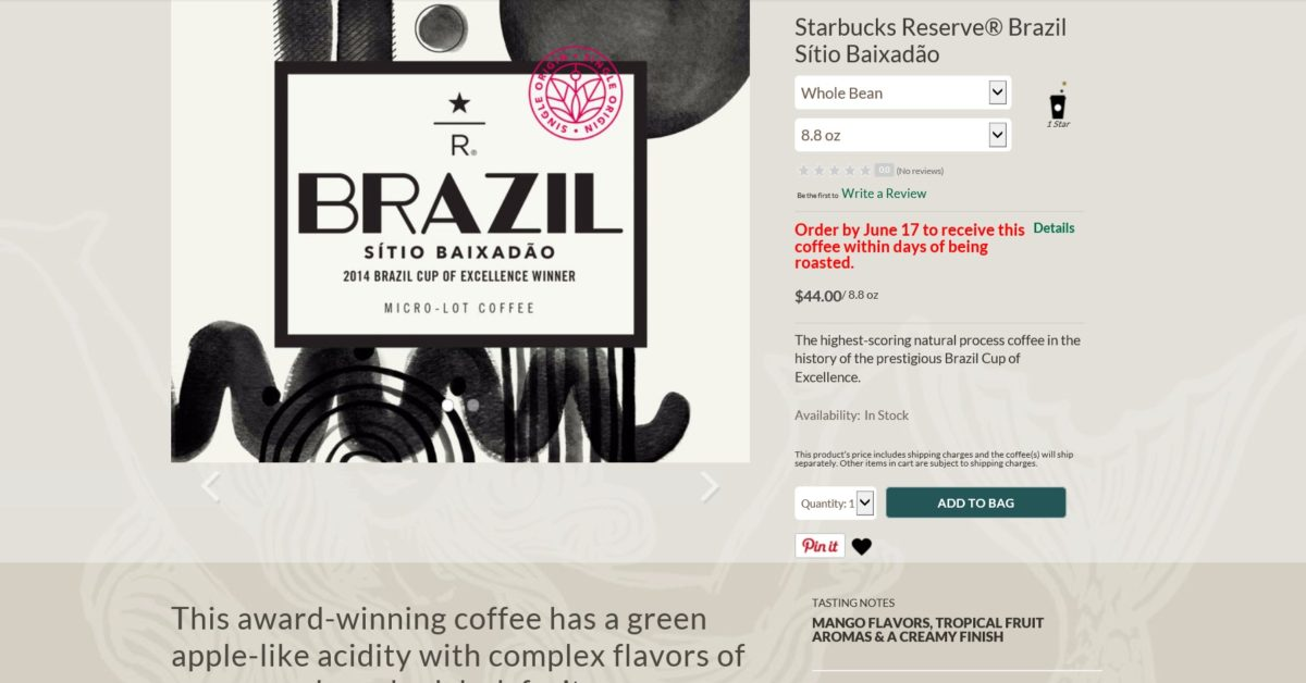 Starbucks Brazil Sitio Baixadao – Cup of Excellence Coffee: Order it Now at StarbucksStore.com