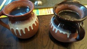 2 - 1 - 20150527_072200 2 clay mugs of cafe de Olla coffee