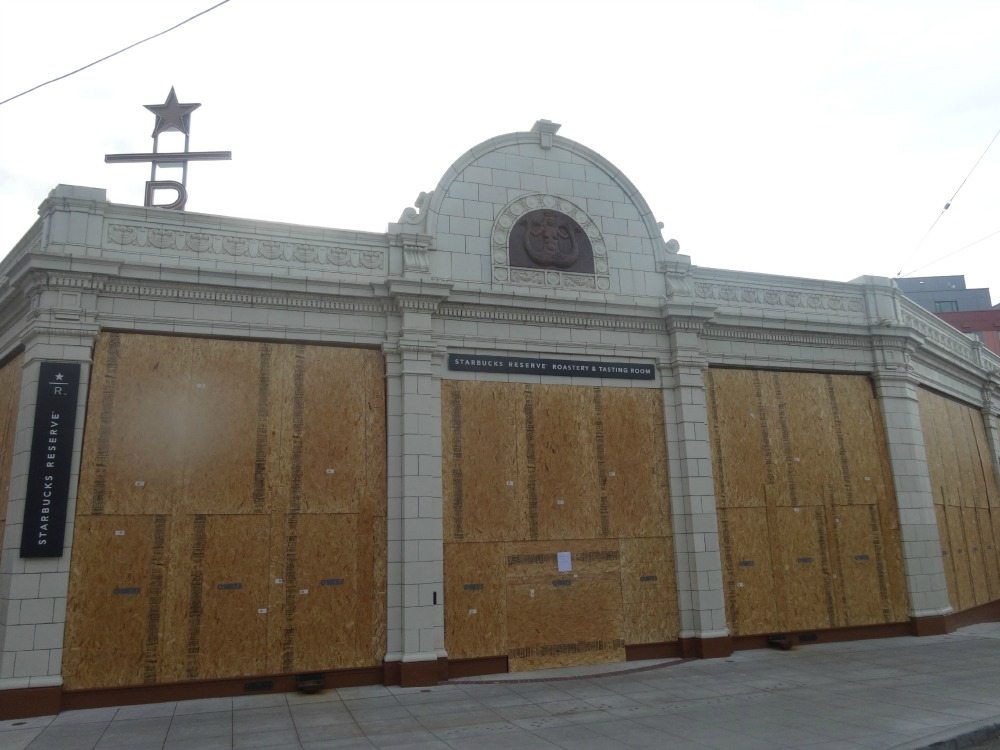 The Starbucks Reserve Roastery and Tasting Room Boarded Up.