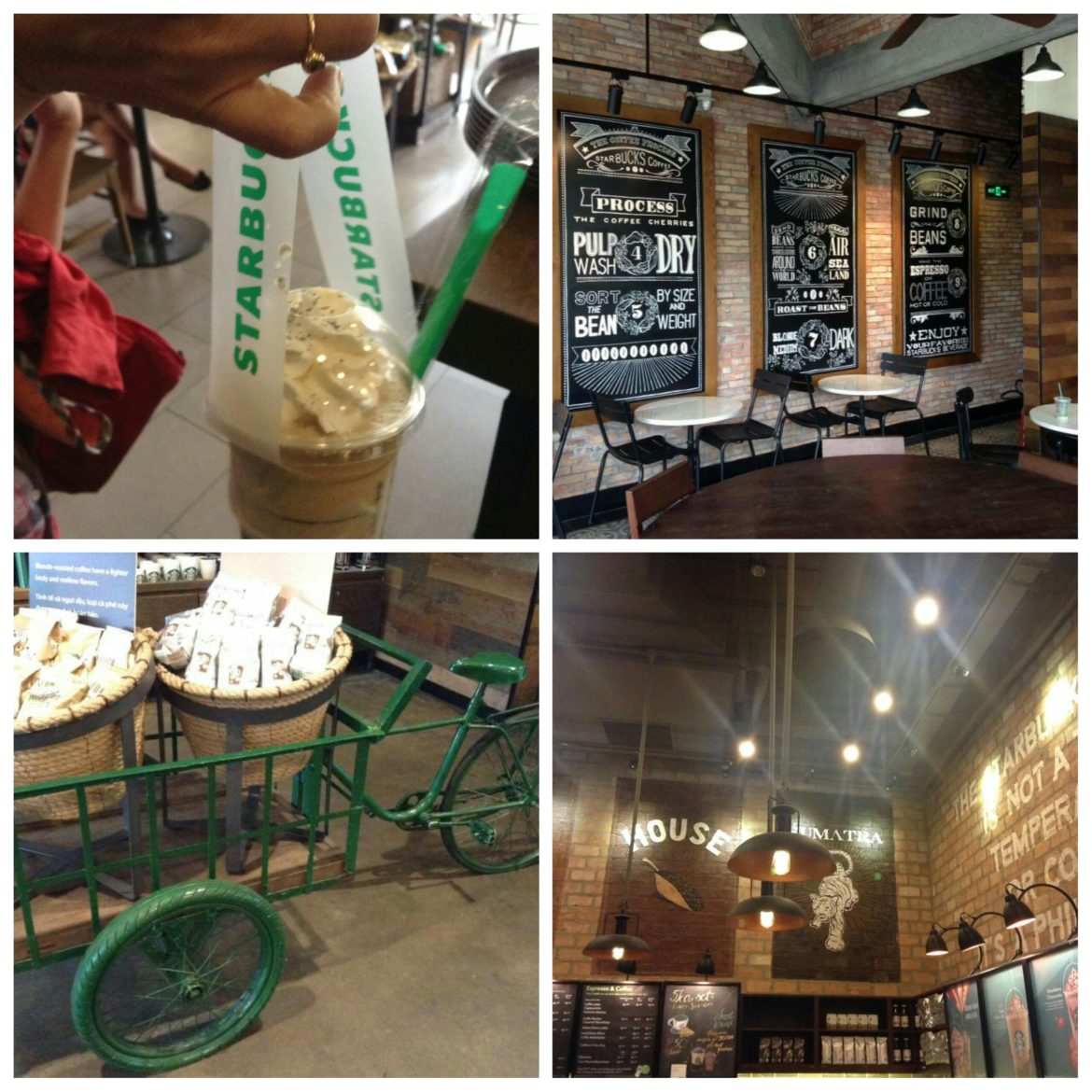 Starbucks in Vietnam. (They have Frappuccino carrier handles!)