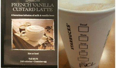 2 - 1 - PhotoGrid_1439519931810 cup and sign French Vanilla Custard Latte Starbucks