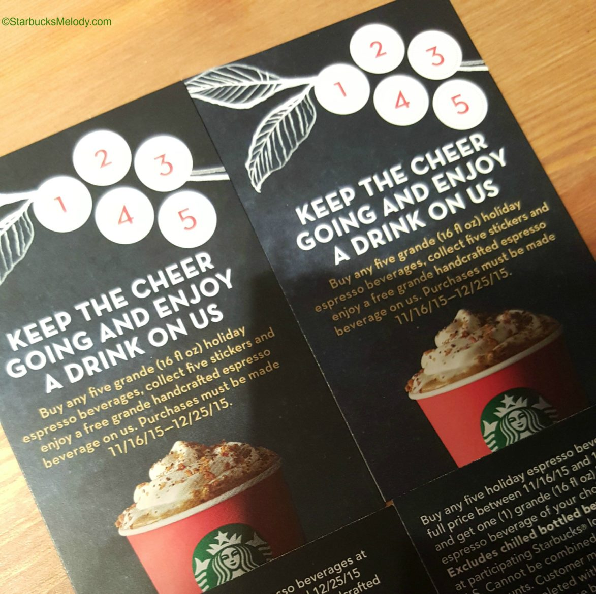 Buy 5 Grande Holiday Drinks at Starbucks: Get one free.