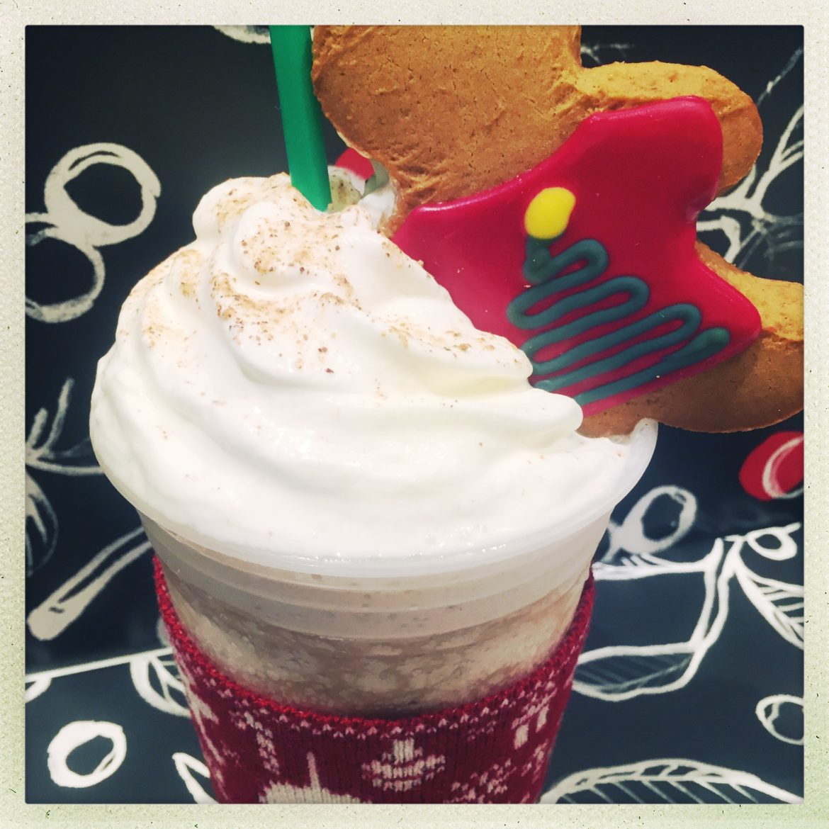 Don't look!! This Starbucks Ugly Sweater Gingerbread Man Partied Too Hard.
