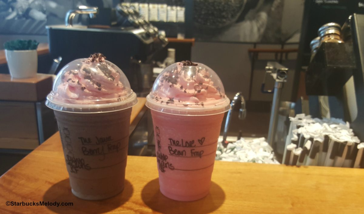 The Love Bean Frappuccino and the Java Berry Frappuccino