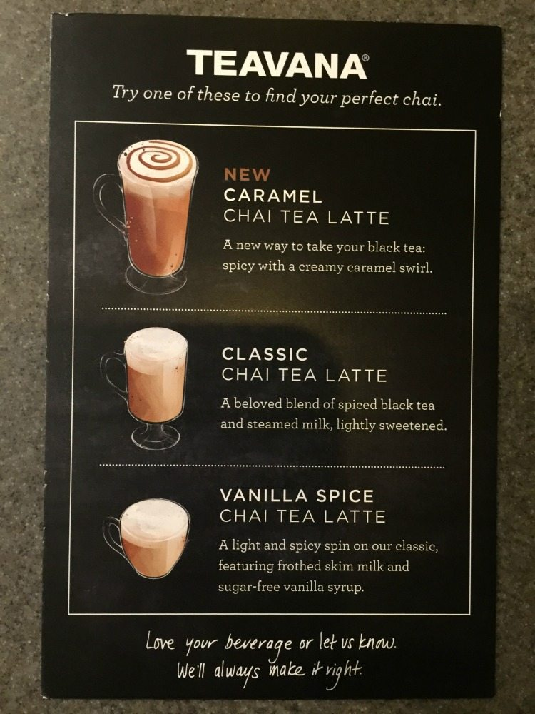 Update on the Teavana Custom Chai Latte Test.
