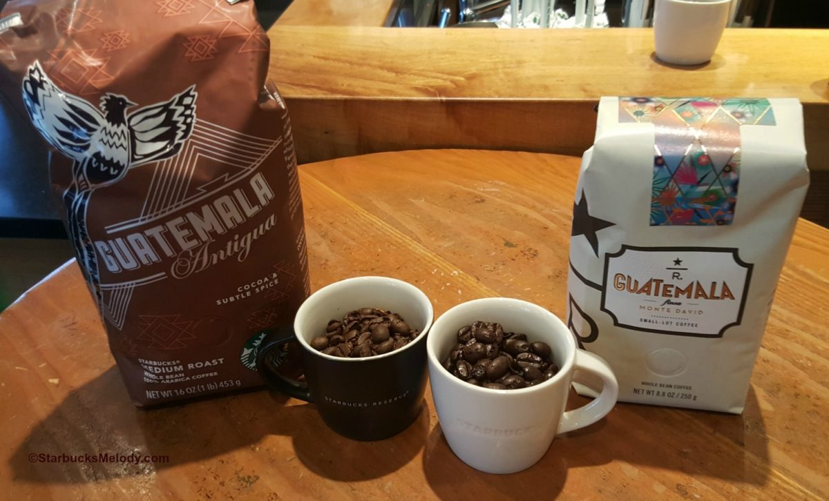 Coffee Education: Compare Reserve Guatemala Finca Monte David and Starbucks core Guatemala Antigua coffees.