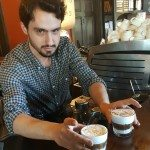 1 - 1- 20160409_124048 Ryan at Roy Street Coffee handing off the Iced Japanese Macchiato drinks