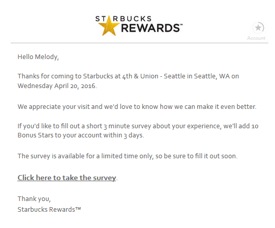 10 bonus Starbucks Rewards stars for the store survey!