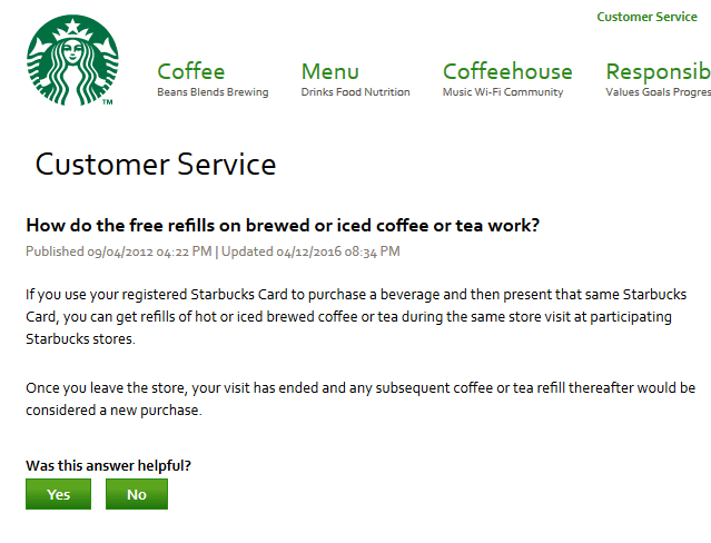 The Starbucks Refill Policy Update.