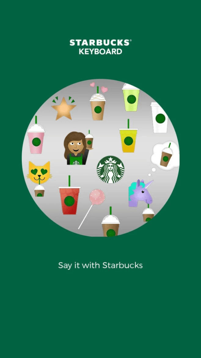 Starbucks emojis are here! The Starbucks Keyboard App for Android or iPhone.
