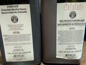 2 jars of different milk chocolate sauce - starbucks - testing milk chocolate mocha