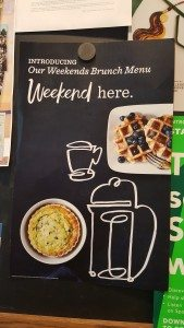 1 - 1 - 20160827_082150 sign for weekend brunch at Starbucks