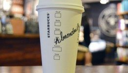 Almond milk latte - inside the SODO 8 starbucks