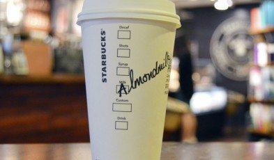 Almond milk latte - inside the SODO 8 starbucks