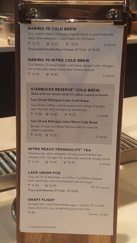 20160911_085433 menu for the new nitro peach tranquility and lake union fog